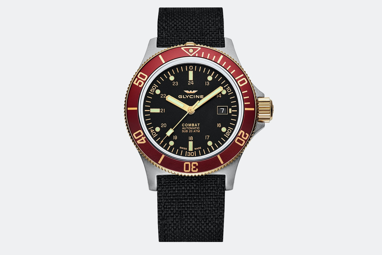 GL0092 | Black Dial, Red Bezel, Black Fabric Strap