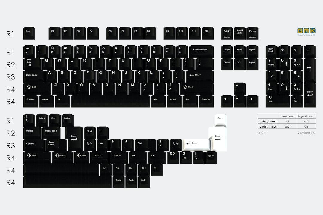Drop GMK White-on-Black Custom Keycap Set