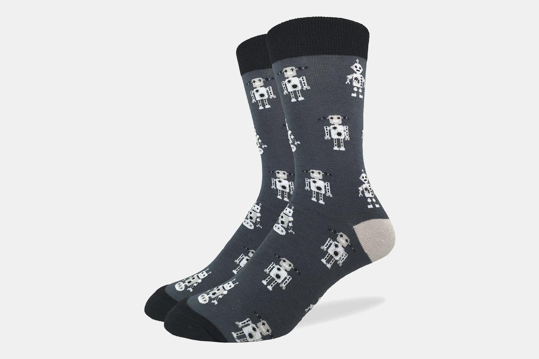 Grey Robot Crew Socks