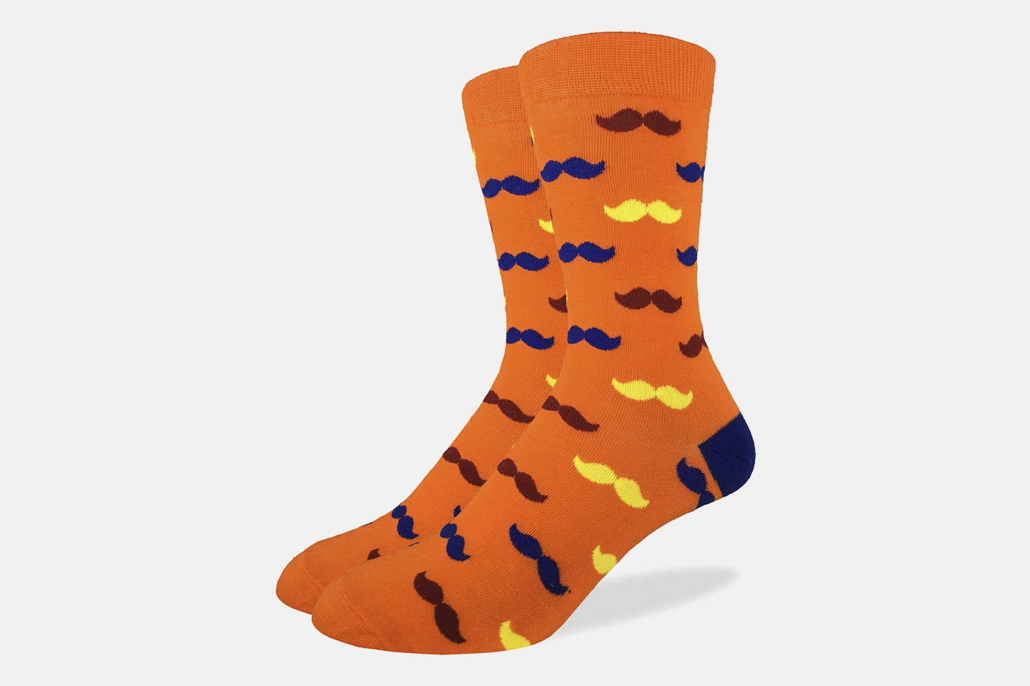 Orange Mustache Crew Socks