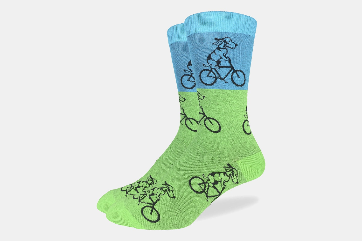 Green & Blue Dog ON Bike Crew Socks