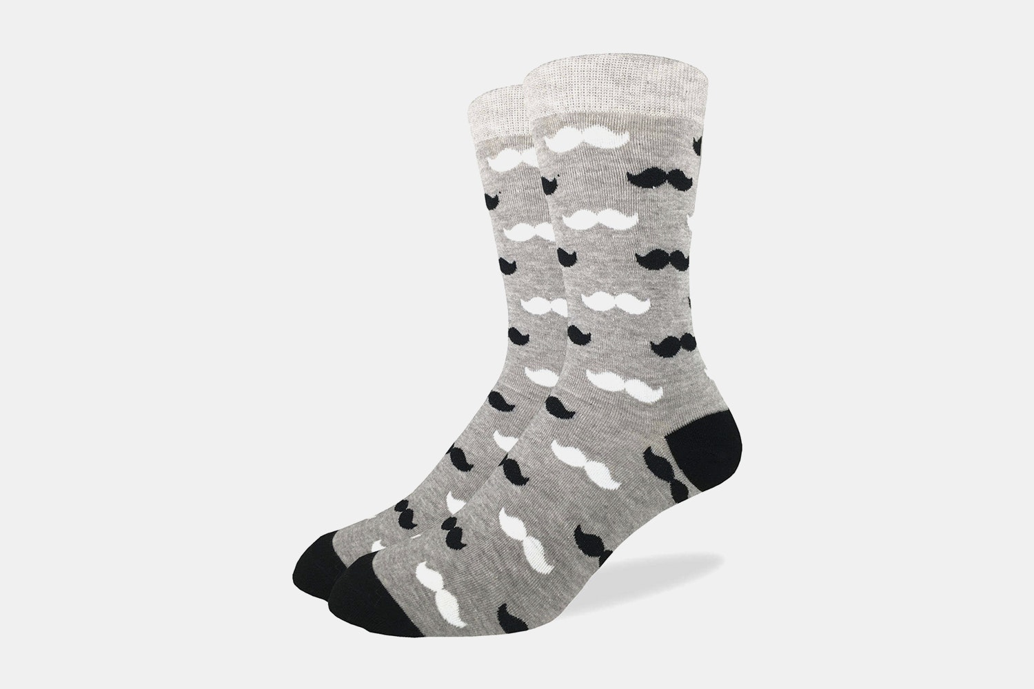 Black & Grey Mustache Crew Socks
