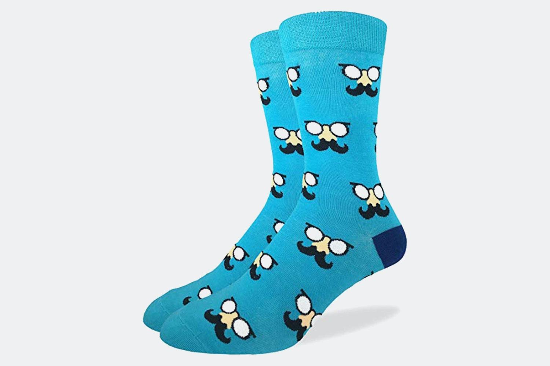 Aqua Mustache Crew Socks