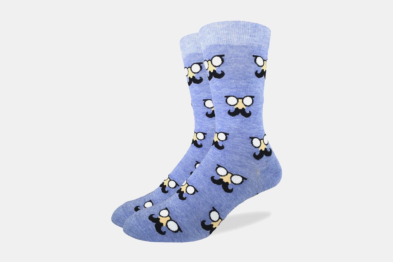 Blue Mustache Crew Socks