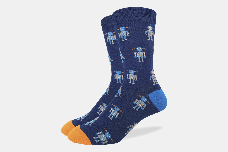 Blue Robot Crew Socks