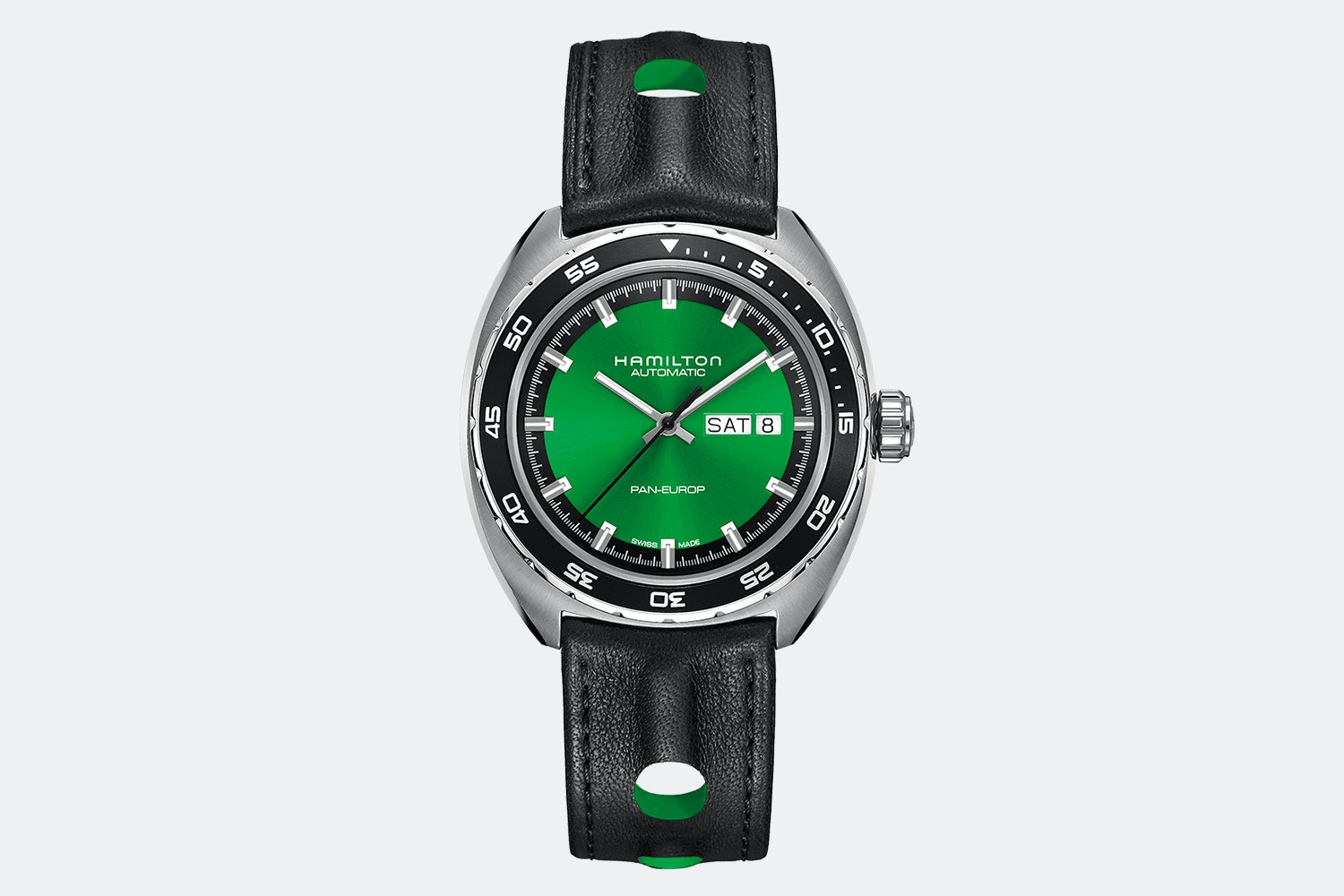 H35415761 - Green Dial, Black Leather Strap