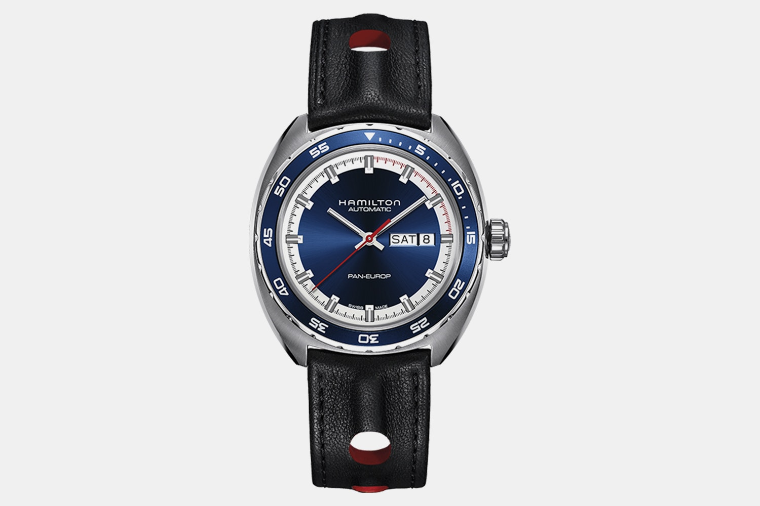 H35405741 – Blue Dial, Black Leather Strap