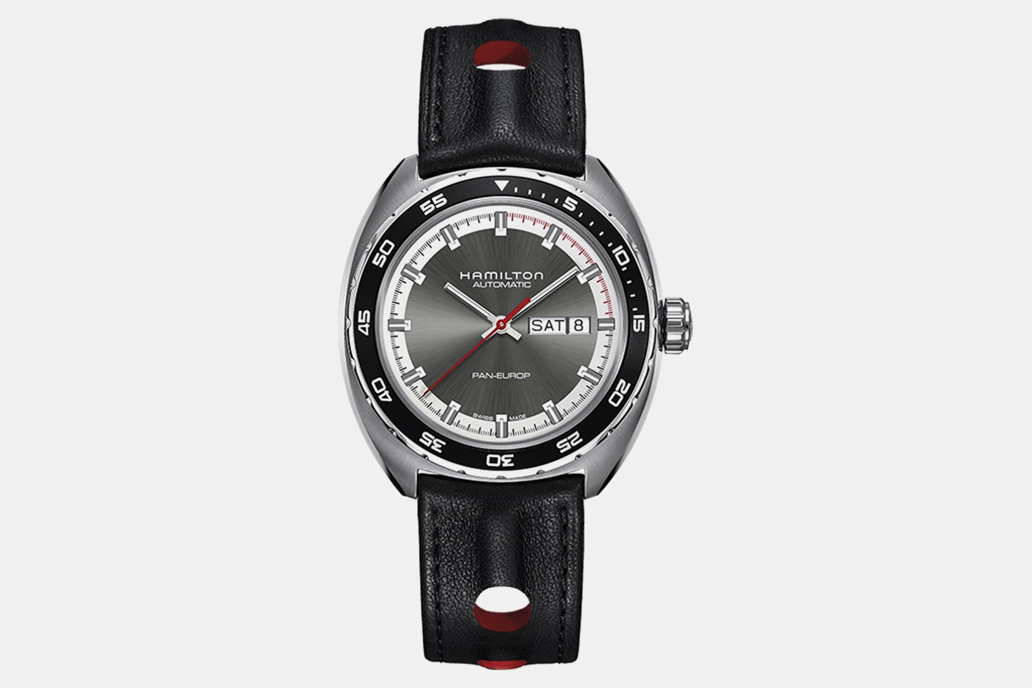 H35415781 – Grey Dial, Black Leather Strap