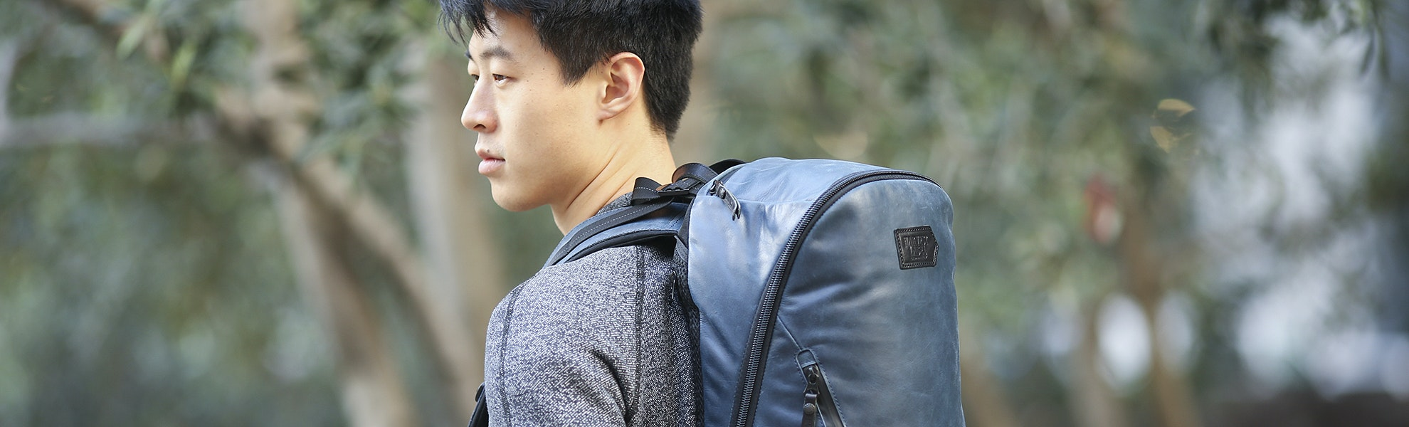 Harvest Label Leather Bomber Backpack