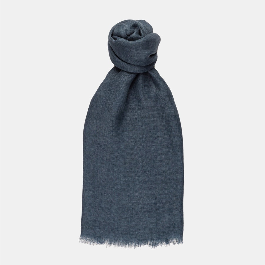 100% Linen Scarf - Insignia Blue