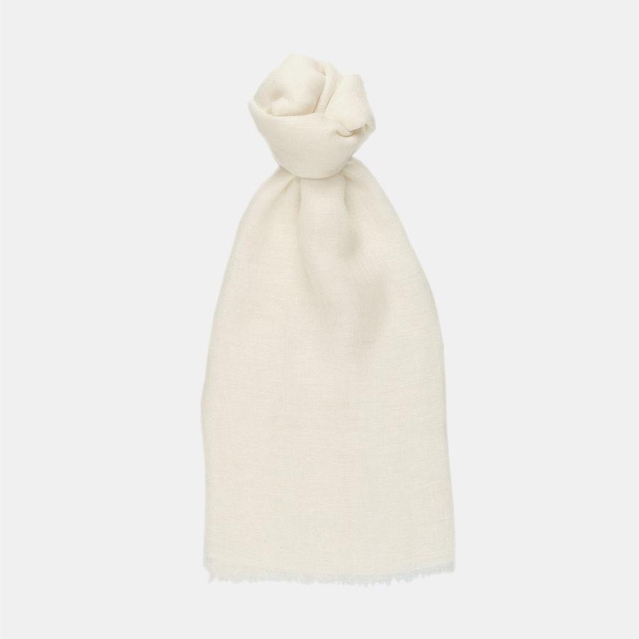 100% Linen Scarf - Egret White