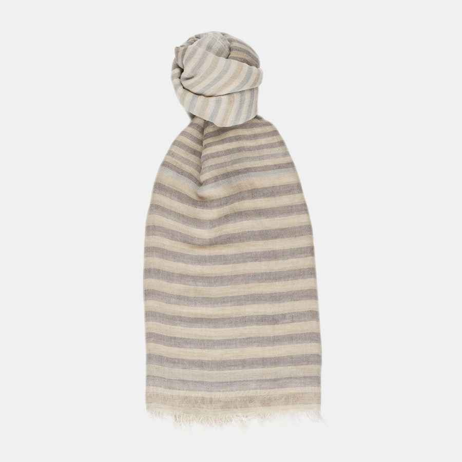 Linen/Cotton Scarf - Natural Stripe