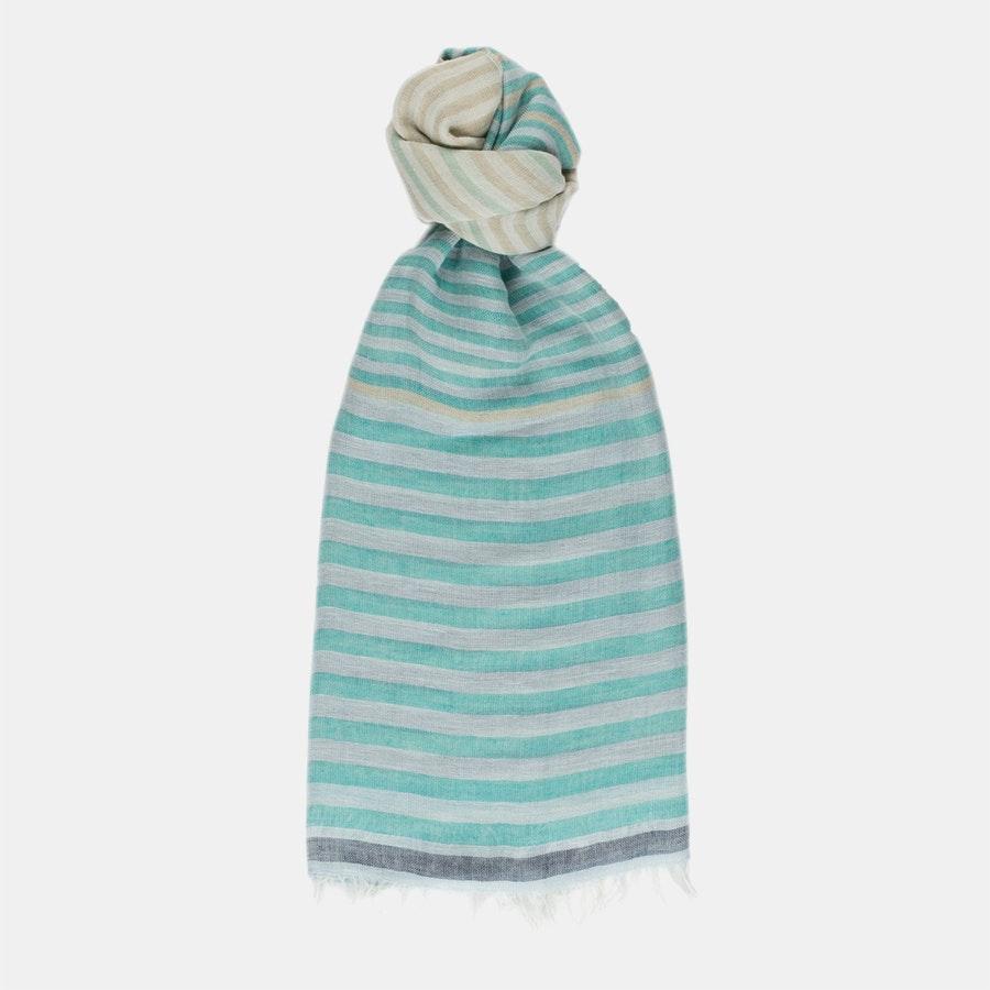 Linen/Cotton Scarf - Blue Stripe