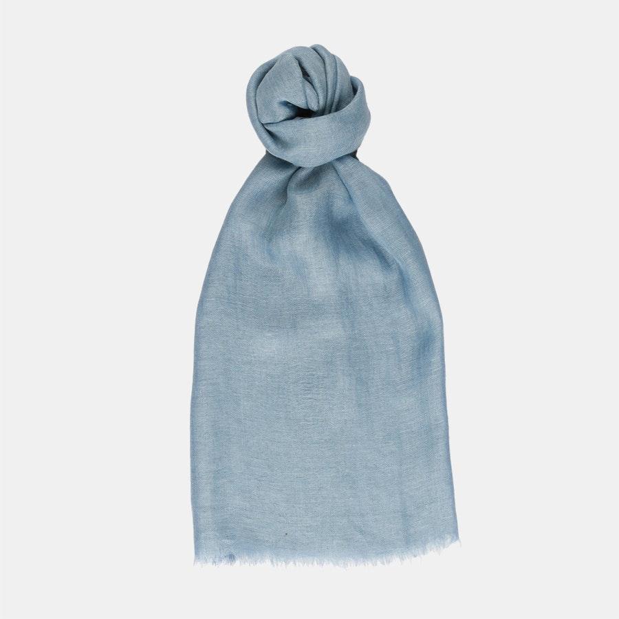 100% Linen Scarf - Denim Blue