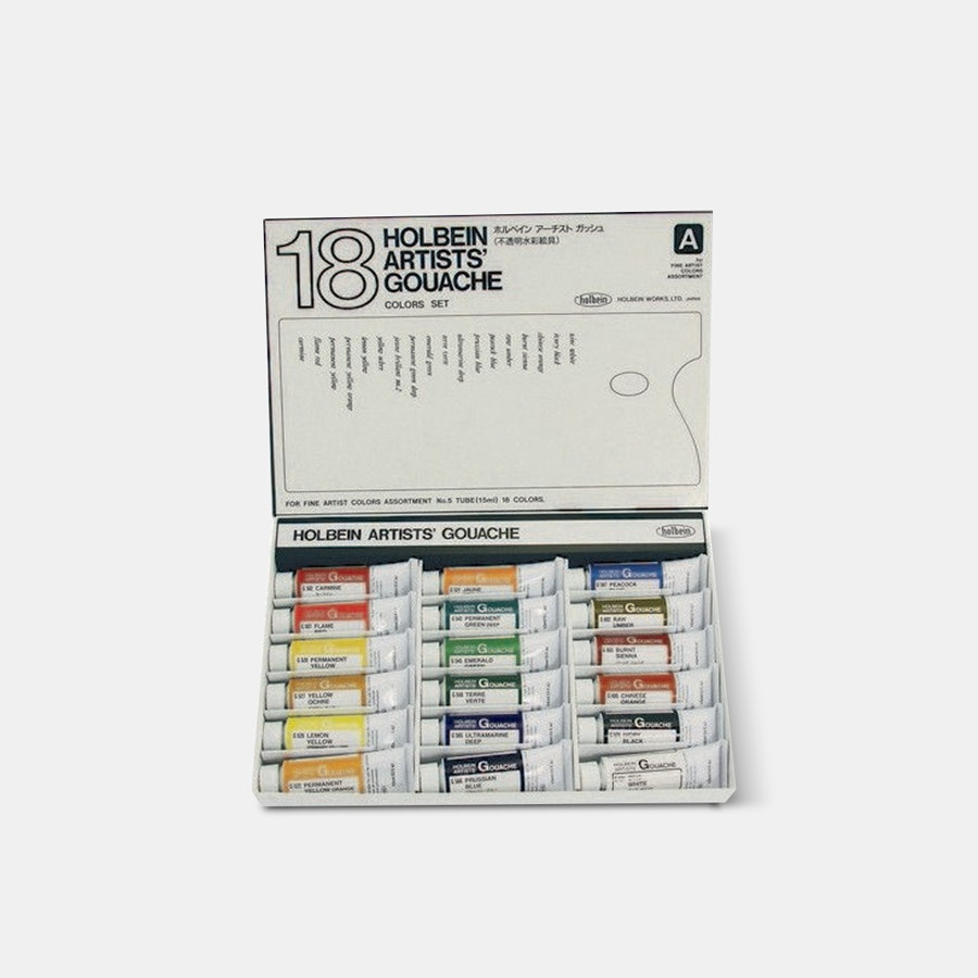 Holbein Artists' Gouache 18-Color 15ml Set