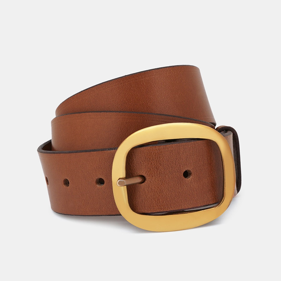 Black Bridle Leather Belt with 1.5 inch Square Buckle Brass or Nickel