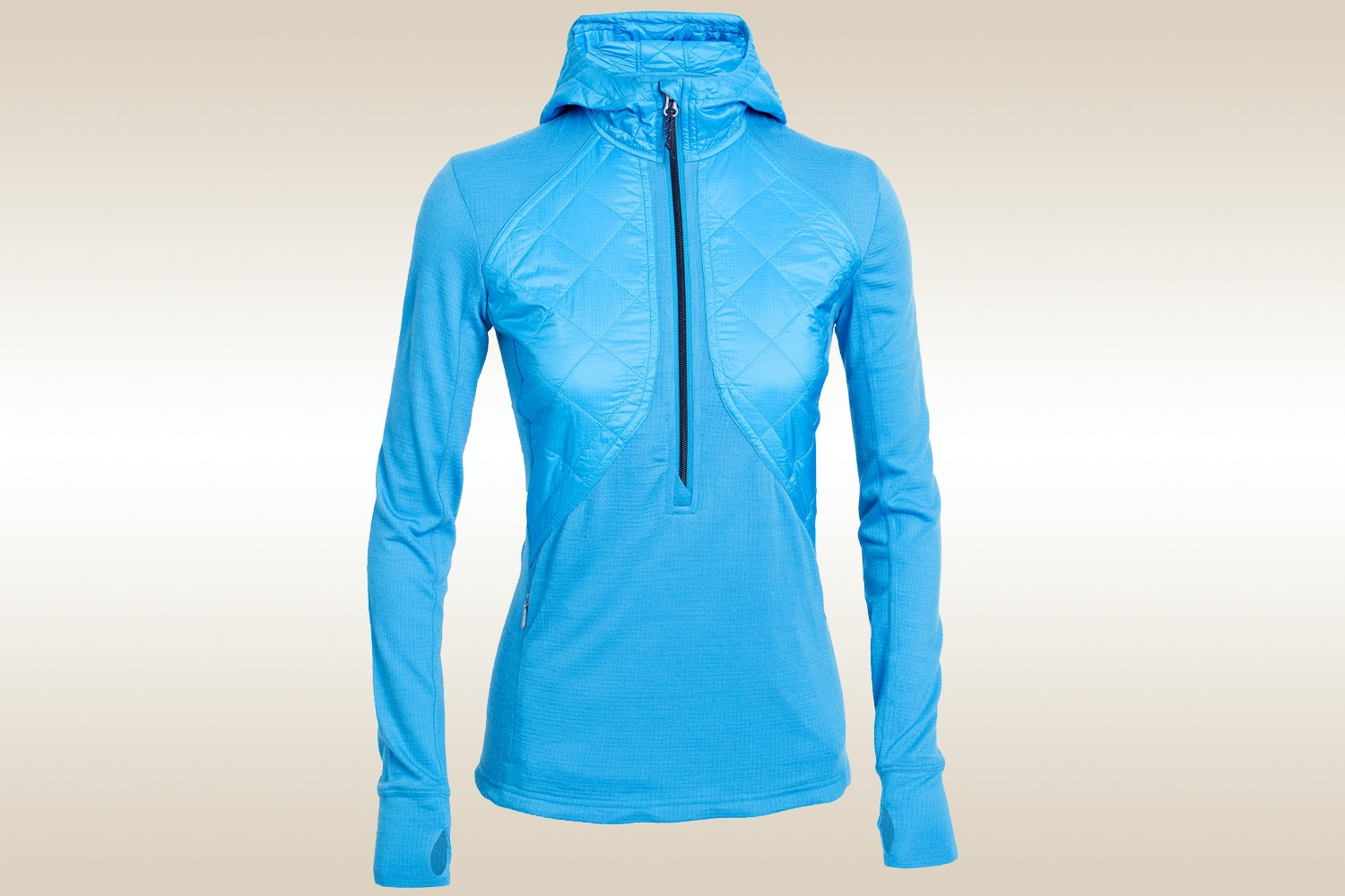 MerinoLOFT Ellipse  Long-Sleeve Half-Zip Hood, Cyan