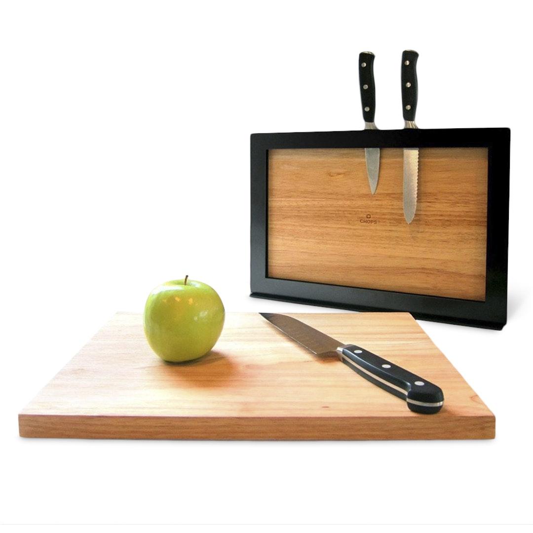 ILOVEHANDLES CHOPS Cutting Board & Knife Block