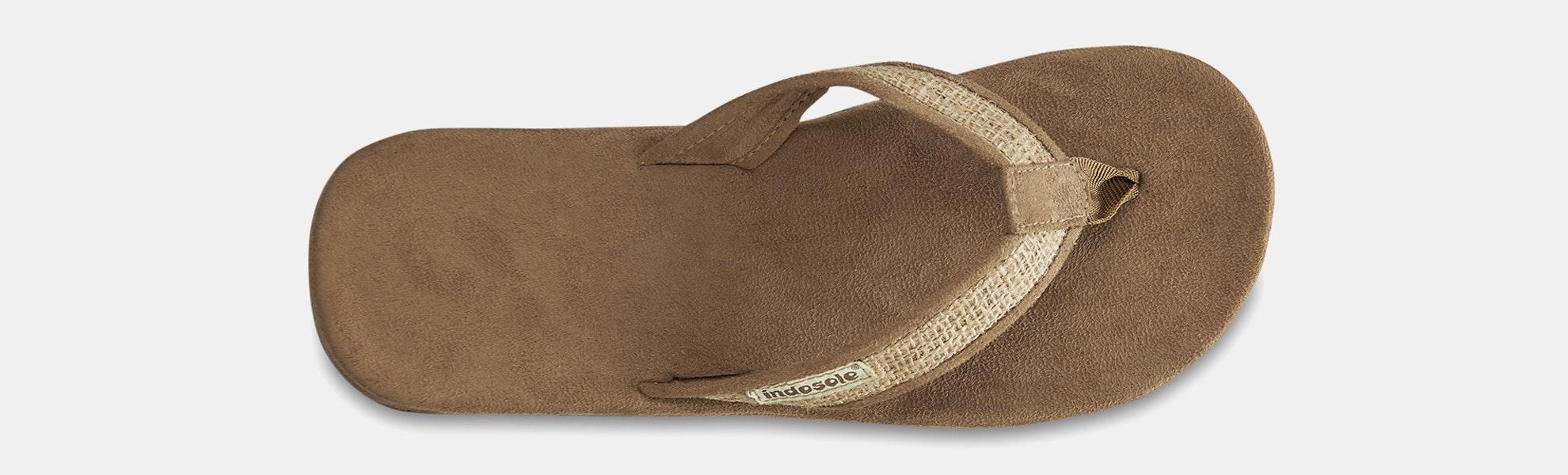 Indosole Tan Burlap Flip-Flops