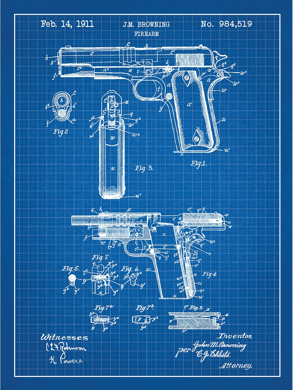 Browning Firearm - J.M. Browning - 1911 - 984,519
