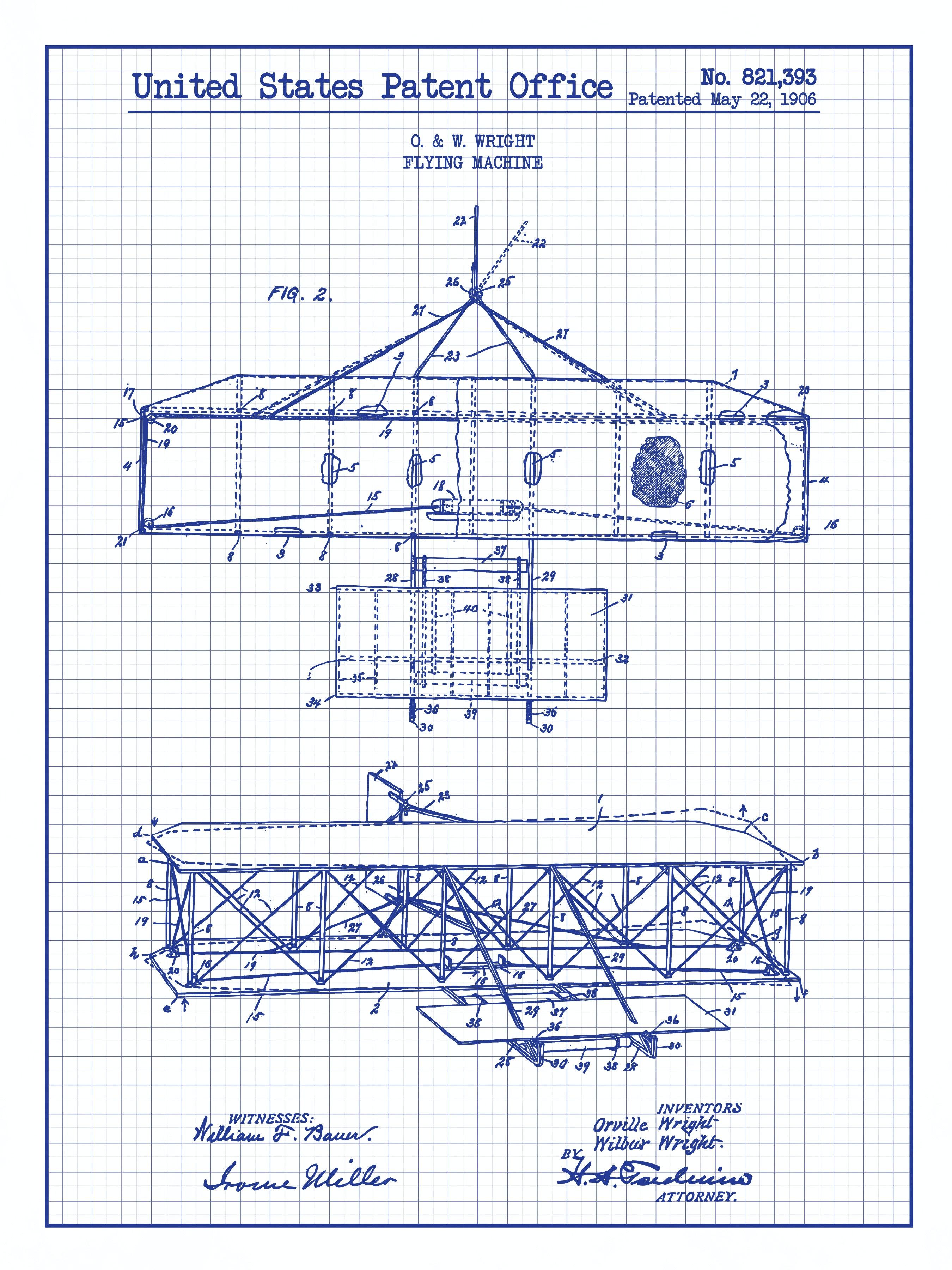 Wright Flying Machine - Wright Bros. - 1906 - 821,393