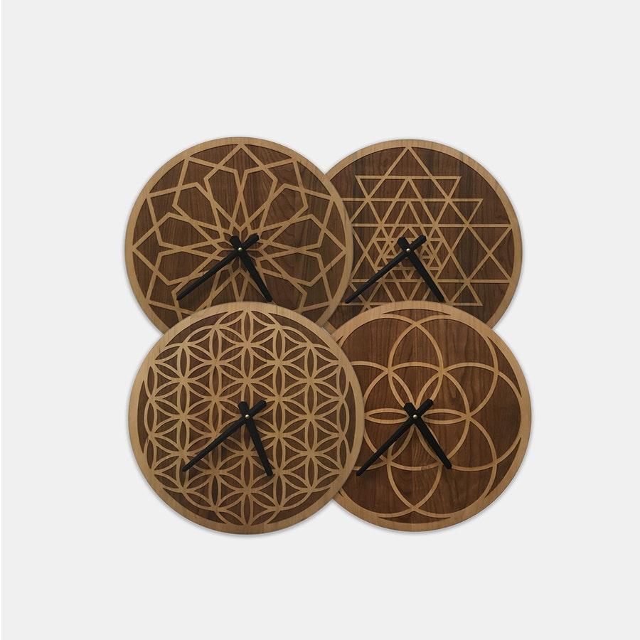 Inked and Screened Wooden Geometric Clocks