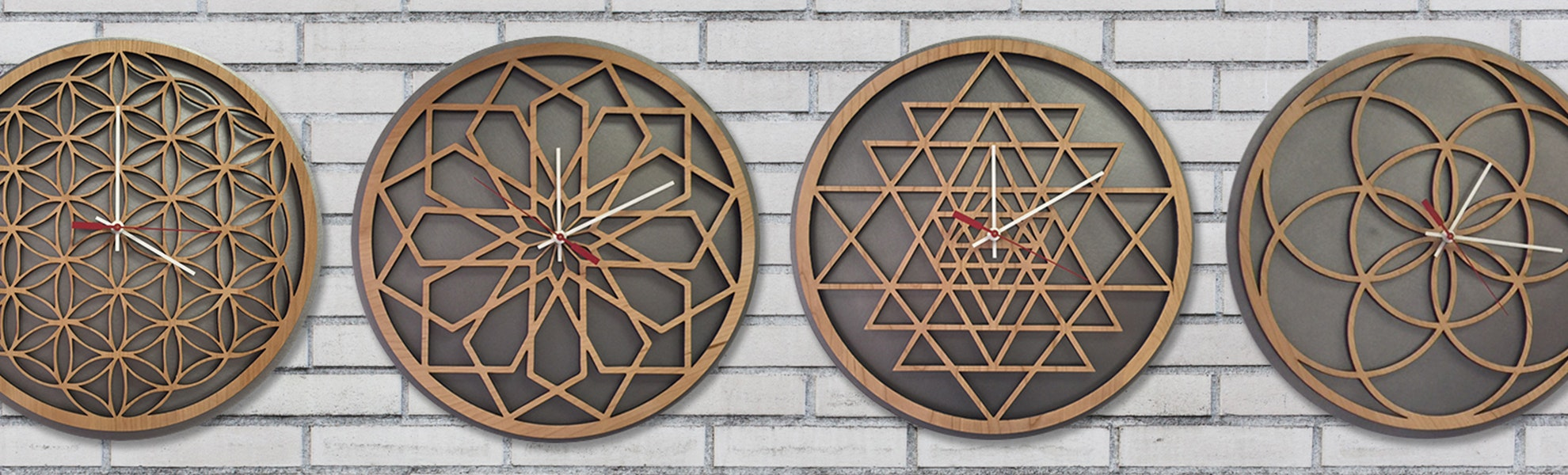 Inked and Screened Geometric Wooden Clocks