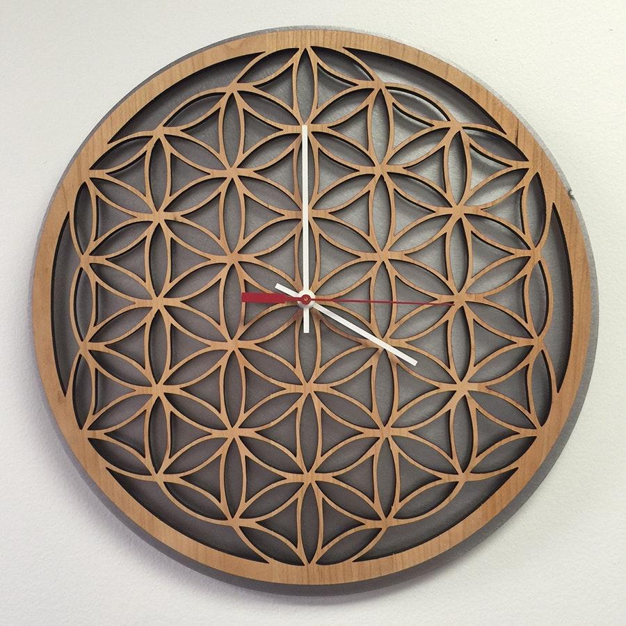 Inked and Screened Geometric Wooden Clocks