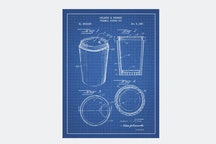 Thermal Coffee Cup - Blue Grid