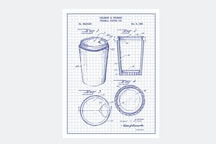 Thermal Coffee Cup - White Grid