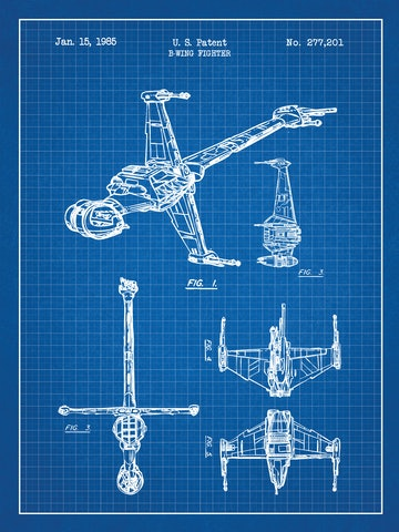 SP-SYFI-B-Wing-Fighter-277,201-Blue-Grid-White-Ink-24-Inches