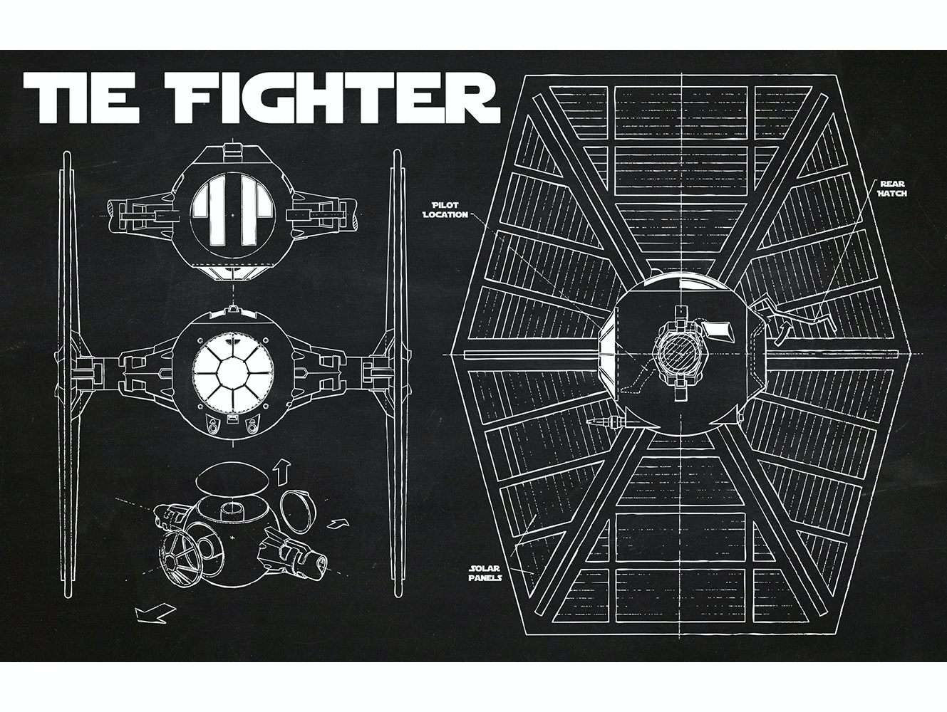 Stary Wars - Tie Fighter (Horizontal Print)