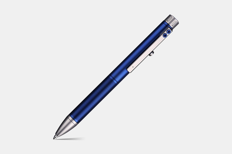 TTi-108 Titanium Bolt-Action Pen - Blue & Silver (+$40)