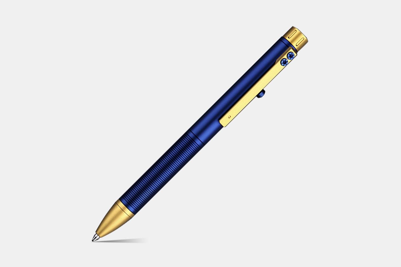 TTi-108 Titanium Bolt-Action Pen - Blue & Gold (+$100)