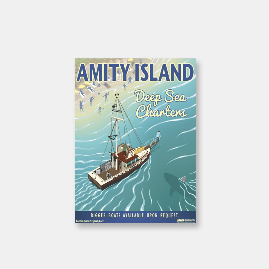 Jaws Amity Island Deep Sea Charters Vintage Print