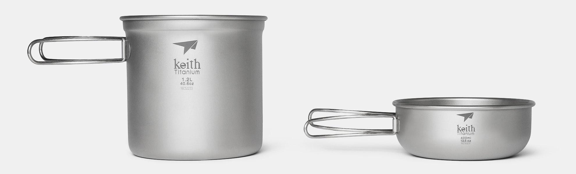 Keith Ti6051 Titanium 2-Piece Pot & Bowl Set