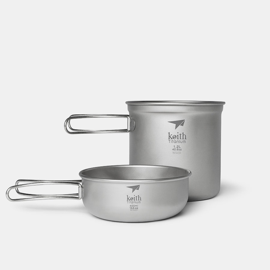 Keith Ti6051 Titanium 2-Piece Pot & Bowl Set