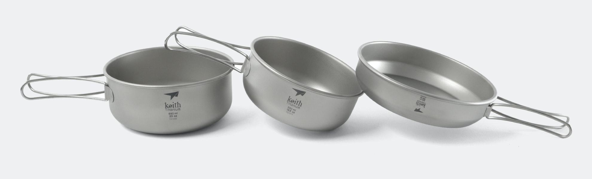 Keith Ti6053 Titanium 3-Piece Bowls & Pan Set