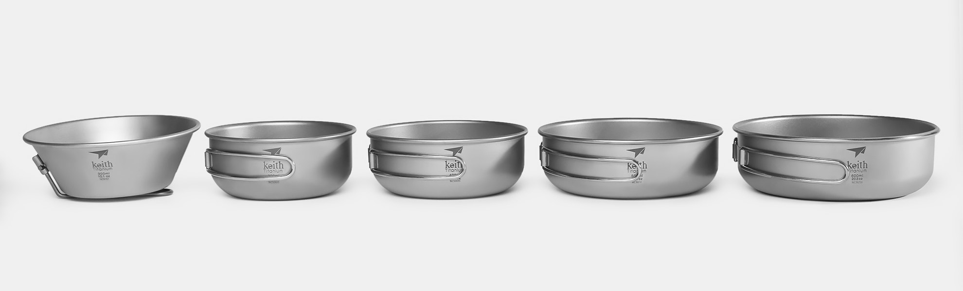 Keith Titanium Bowls w/ Folding Handles (2-Pack)