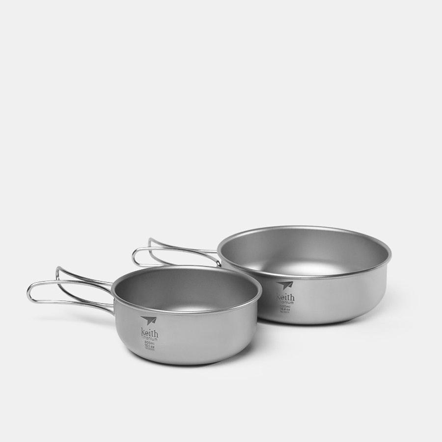 Keith Titanium Bowls w/ Folding Handles (2-Pack)