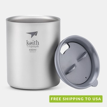 Keith Titanium Double-Wall Mugs w/ Lids