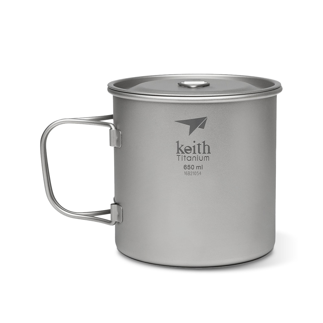 15.2 fl oz Keith Titanium Ti3204 Single-Wall Mug with Folding Handle and Lid