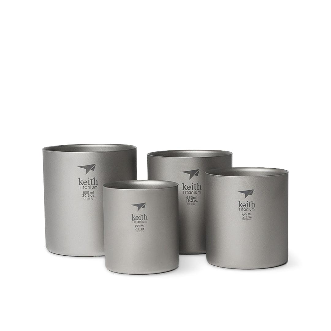 Shipped from USA Keith Titanium Ti3501 Nesting 4-Piece Double-Wall Mug Set