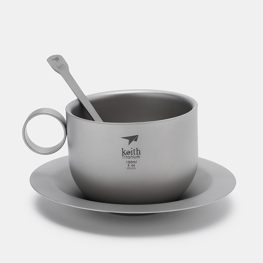 Keith Titanium Ti3601 Coffee Cup/Saucer/Spoon Set