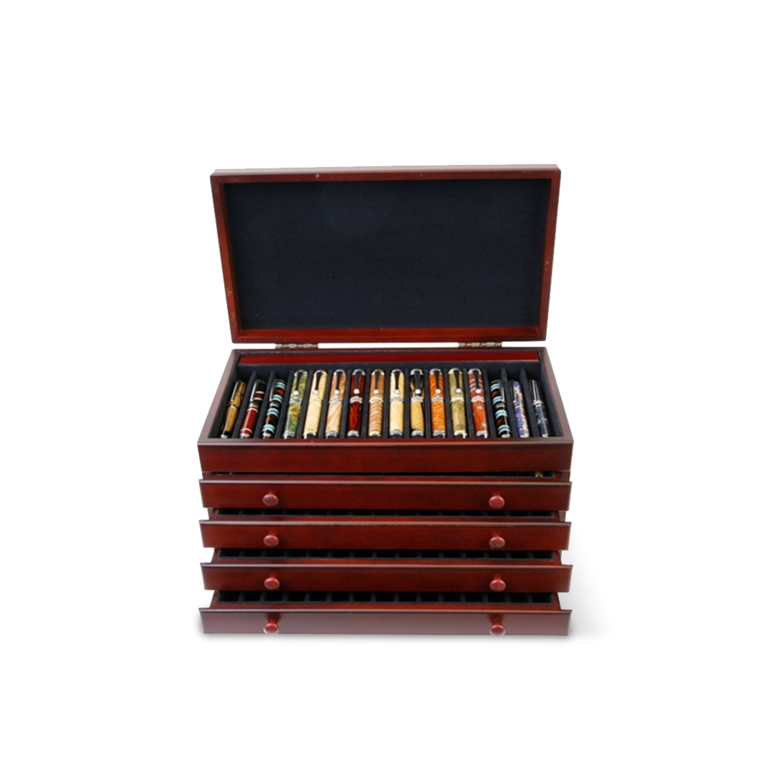 Lanier Mahogany Chest for 76 Pens