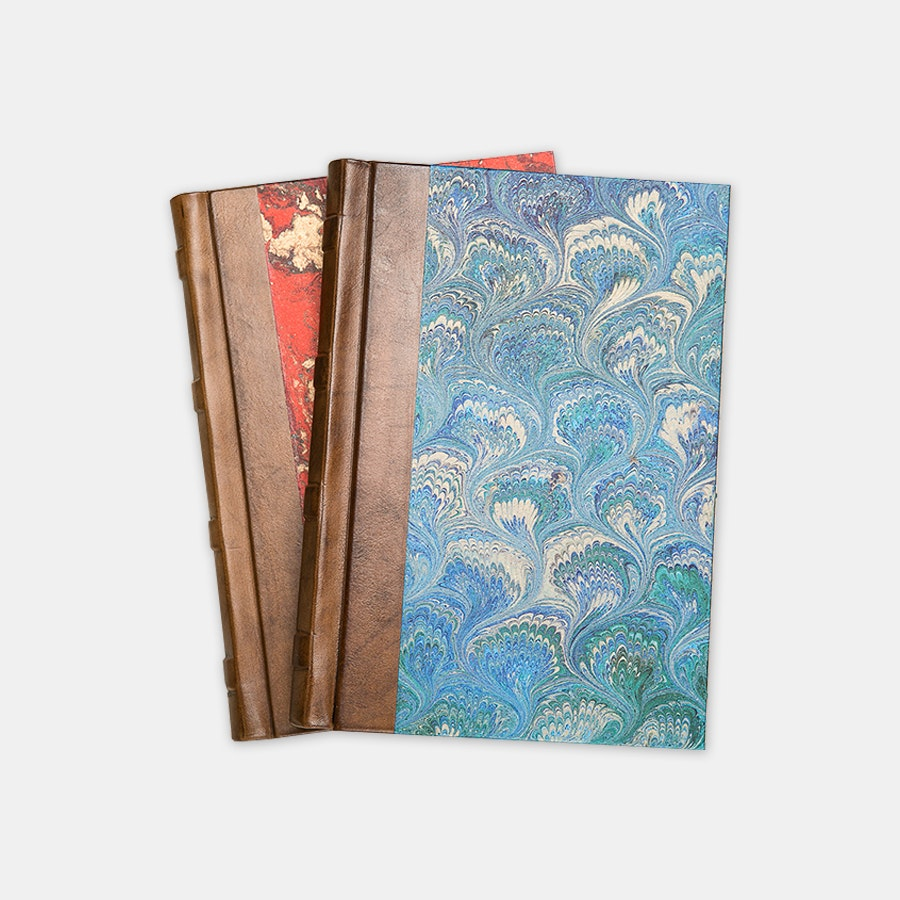 Manufactus Marble & Peacock Leatherbound Journals