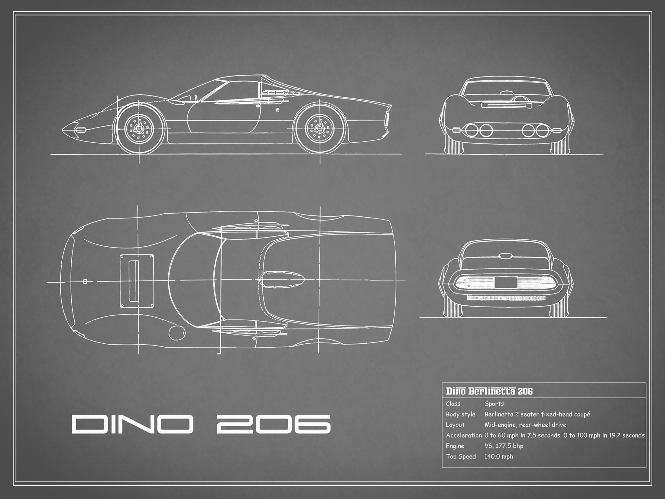 Blueprint Ferrari Dino - Gray