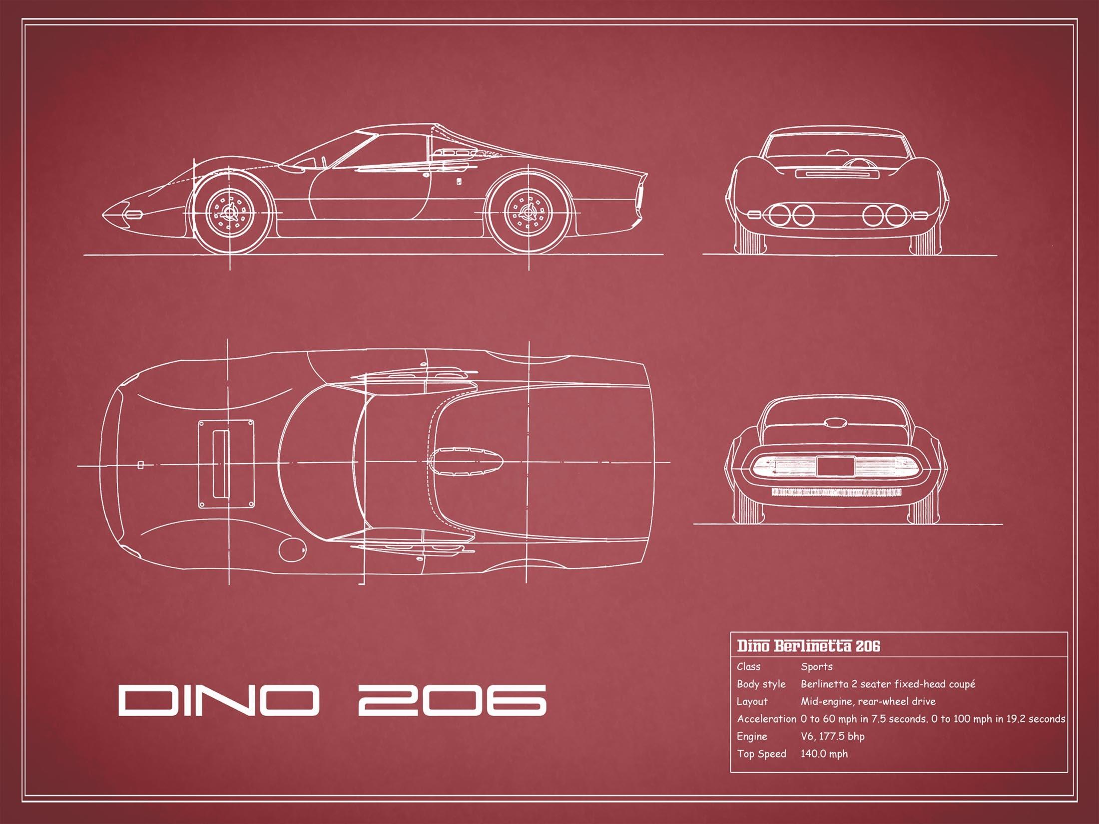 Blueprint Ferrari Dino - Red
