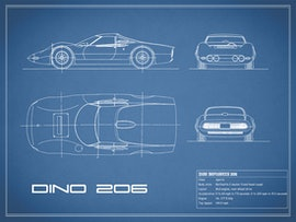 Blueprint Ferrari Dino - Blue