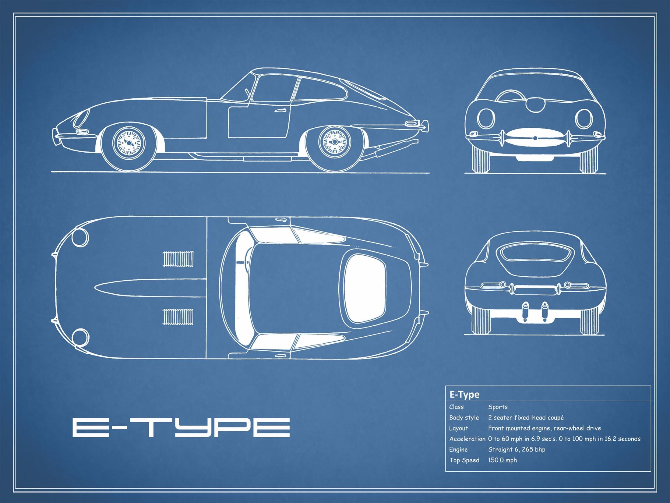 Jaguar E Type - Blue